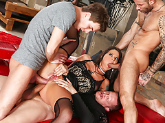 Clammy girl gains twofold cocks stuffed up her butt in this gangbang