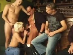 Blonde babe sucks on different cock sizes